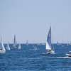 Sailboats ready to race outside of Marblehead Harbor towards during the Marblehead-Halifax Race in Marblehead on Sunday, July 9, 2017. (Scott Eisen/The Item)