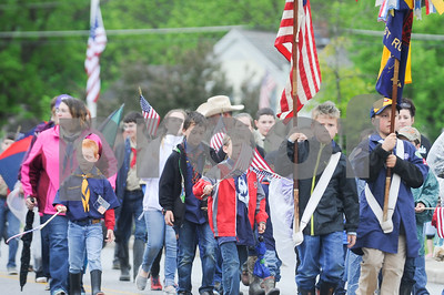 Robert Layman / Staff Photo Boy Scouts from Troop #116 march during the Memorial Day Parade in West Rutland Monday morning.