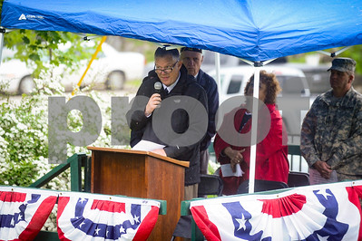 Robert Layman / Staff Photo Rutland City Mayor David Allaire speaks speaks during the Memorial Day Ceremony at the West Street Cemetery Monday morning.
