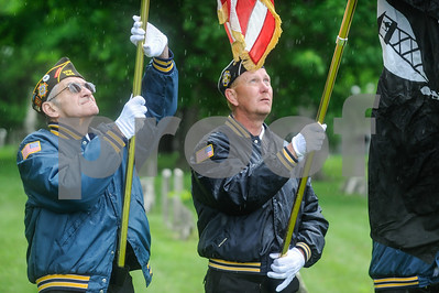 Robert Layman / Staff Photo The color guard from Rutland City's VFW Post 648 during the Memorial Day Ceremony at the West Street Cemetery Monday morning.