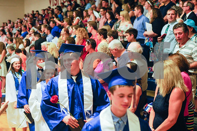 Robert Layman / Staff Photo Graduated seniors from Mill River Union High School's class of 2017 walk out of their ceremony Wednesday night.