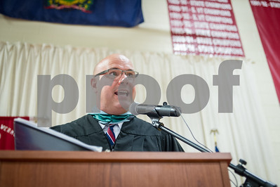 Robert Layman / Staff Photo Todd Finn, Mill River Union High School Principal speaks to the class of 2017 -- the first he's sending off since taking the position in the fall of 2016.
