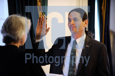 Jeb Wallace-Brodeur / Staff Photo Lt. Gov. David Zuckerman is sworn into office by Supreme Court Justice Beth Robinson on Thursday at the State House.