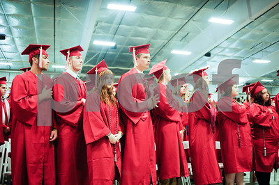 Robert Layman / Staff Photo Graduates from the Rutland High School class of 2017 stand in the packed Spartan Stadium during their graduation ceremony Thursday night.7