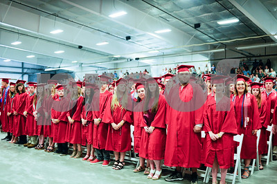 Robert Layman / Staff Photo Graduates from the Rutland High School class of 2017 stand in the packed Spartan Stadium during their graduation ceremony Thursday night.