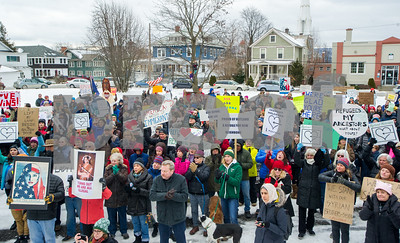 Robert Layman / Staff Photo Hundreds of demonstrators gather at Main Street Park in Rutland Saturday afternoon as part of a Rutland Welcomes gathering. The demonstration comes as a result from President Donald Trump's executive order which has stopped the refugee resettlement program in the United States.