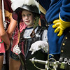 Patrick Gibbons, 6, of Saugus tries on replica armor from the 1630s when the Salem Trayned Band visited Saugus Iron Works on Wednesday.