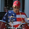 Swampscott, Mal 7-2-17. Cliff Goodman, the drummner for the band called The Bordellos, playing at the Strawberry Festival at Swapmscott Town Hall on Sunday.
