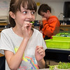 Zoe Rockwell, 9, snack on some freshly harvested greens that were picked from the garden at Summer Street School in Lynnfield.
