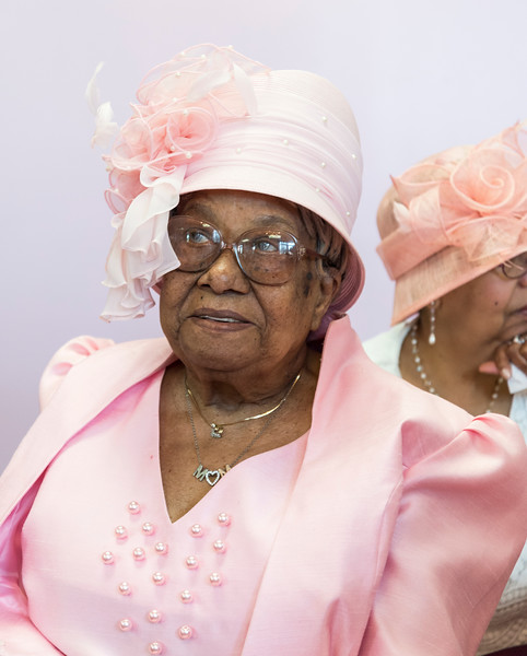 Elsie Shelton of Lynn listens to the music during the tea time event at One of the many stylish hats during the tea time event at Greater Bethlehem Temple Pentecostal Church in Lynn on Saturday.