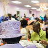One of the many stylish hats during the tea time event at Greater Bethlehem Temple Pentecostal Church in Lynn on Saturday.