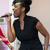 Rachel McLean of Boston sings during the tea time event at Greater Bethlehem Temple Pentecostal Church in Lynn on Saturday.