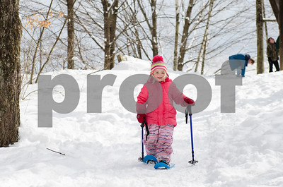 """Kaileigh Cannucci, 4, of Rutland, takes off into the wilderness of Pine Hill park during Winter Fest's """"Go Play Day at Giorgetti"""" Sunday morning. The Rutland City Recreation Department sponsored event had free snowshoeing rentals for kids and adults. (Robert Layman / Staff Photo)"""