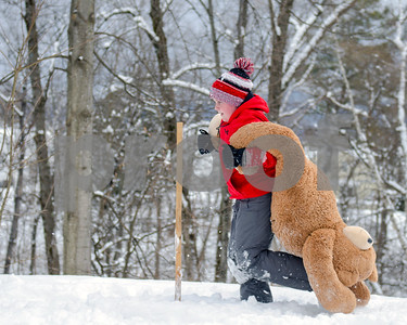 Wyatt Fuller, competes in the Teddy Bear Carry Sunday morning at Giorgetti Park during Rutland's Winterfest Feb 18, 2018. (Robert Layman / Staff Photo)