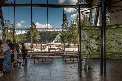 Looking Out at Old Faithful from the Visitor and Education Center
