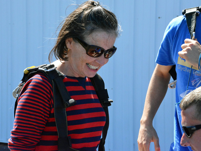 Maggie Devlin prepared to skydive for the 1st time with her son Eric, the Reporter. Photo by Debby High