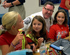 Whitpain Police Chief Mark Smith stops to chat with fifth-graders Kendal Bocklet, Remy Lloyd and Sarah Kenney during the annual Shady Grove Elementary School Heroes Luncheon for first responders on Friday Sept. 12, 2014.<br /> Montgomery Media staff photo by Bob Raines