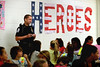 Whitpain Deputy Police Chief Ken Lawson talks with fifth-graders during the annual Shady Grove Elementary School Heroes Luncheon for first responders on Friday Sept. 12, 2014.<br /> Montgomery Media staff photo by Bob Raines