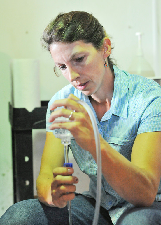 Brandi Hudson uses a strainer cup to catch the embryo as the donor horse's uterus is flushed inside the breeding barn at the Jan Pamela Ranch near Big Horn.