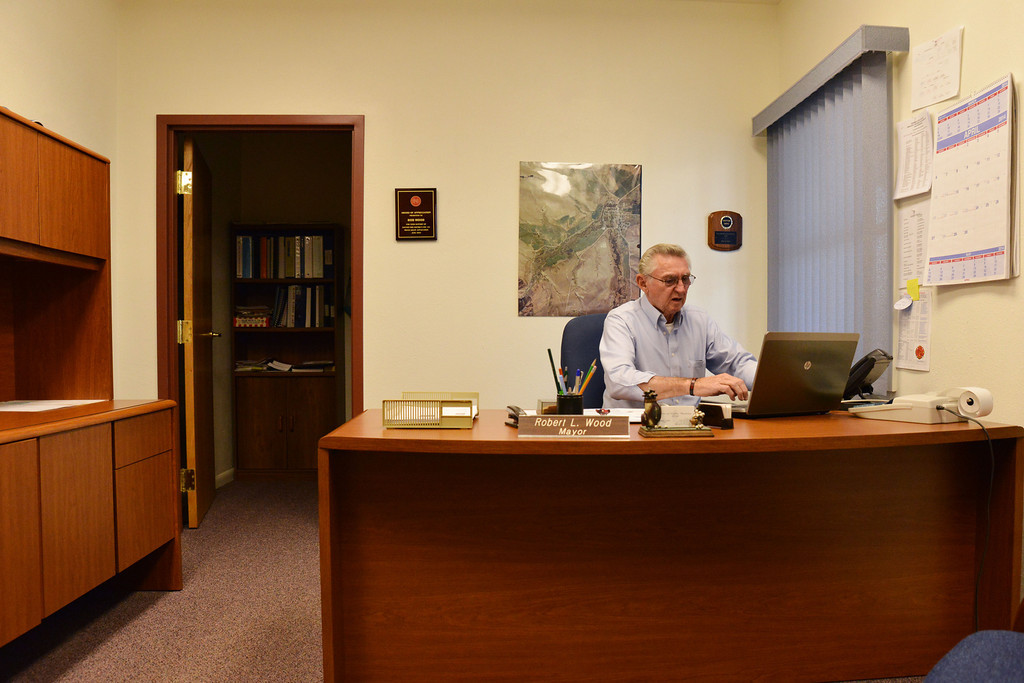 City of Dayton Mayor Robert Wood sits down inside his office at City Hall in Dayton Tuesday, April 22, 2014. Wood will not be seeking re-election at the end of this year. Wood has been serving as Mayor for 16-years. The Sheridan Press|Justin Sheely