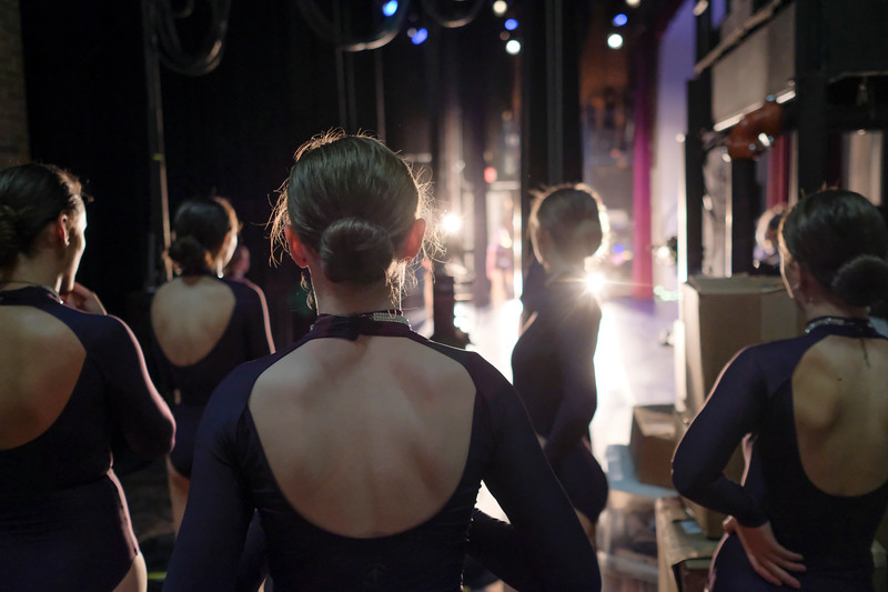 "Justin Sheely | The Sheridan Press<br /> Donna's Diamonds wait in the wing of the stage before their performance during a rehearsal for Donna's Dance Academy ""United Through Dance"" show Thursday at the WYO Theater. The event shows Friday and Saturday at 6p.m. and 8p.m."