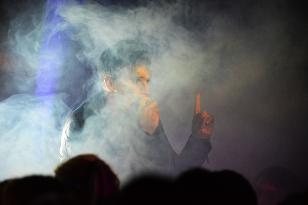 Smoke machines do their work as Lancifer starts off the concert Friday night.