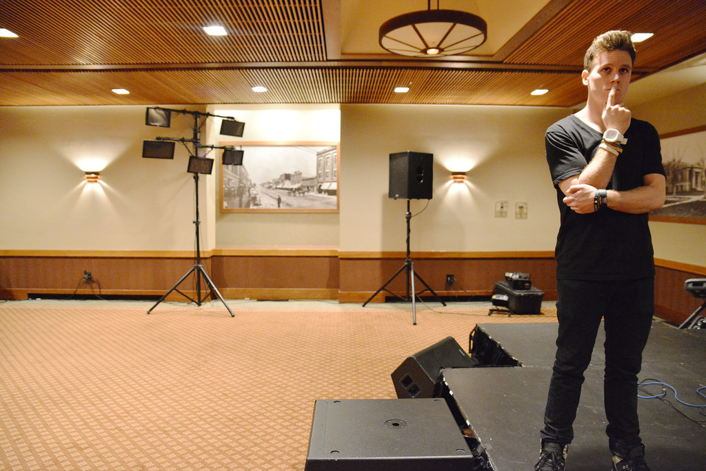Lancifer stops for a moment to check if he forgot anything during a sound check Friday.