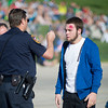 """Sheridan Police Officer Dan White runs a field sobriety test on Max Marquis during Friday's mock motor vehicle accident """"Last Call"""" at the Sheridan High School Parking lot."""