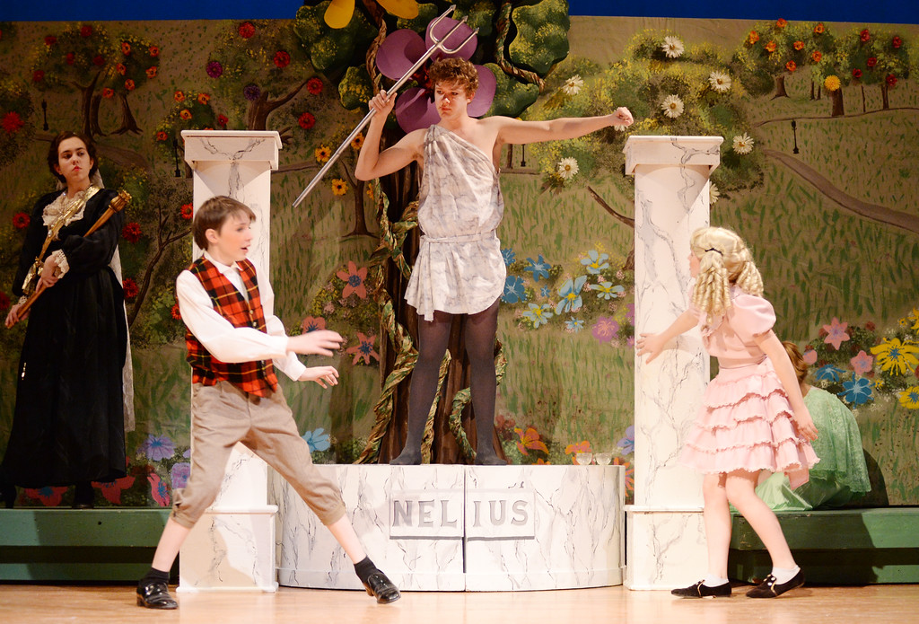 "Landon Alsup, as Michael Banks, left, and Brynn Bateman, as Jane, react to a talking statue as played by Spencer Longhurst during the ""Mary Poppins"" dress rehearsal Monday evening in the Sue Henry auditorium at Sheridan High School. The musical production starts this Wednesday through Saturday at 7:30 p.m. and Sunday at 2 p.m. Justin Sheely/The Sheridan Press."