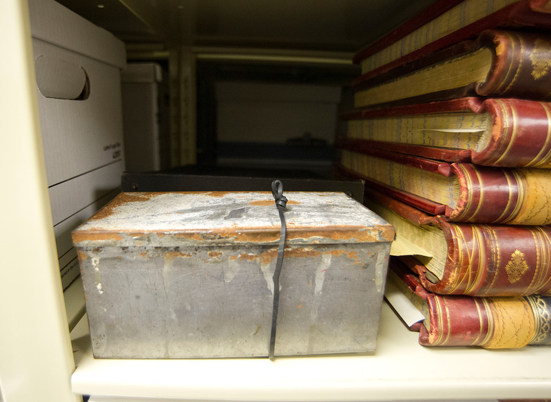 No one knows how long this rusted metal box had been in the storage area at THE Wyoming Room, but the historical significance of the contents was immediately made clear after it was recently opened.