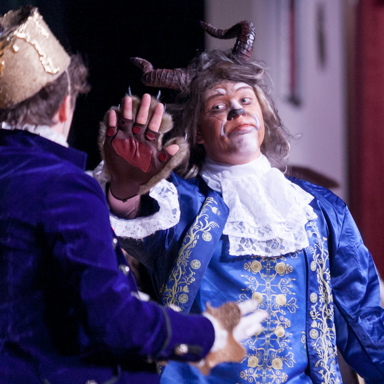 Tibby McDowell | The Sheridan Press<br /> Marcus Sharp, who plays the Beast, puts up his hand to Lumiere signaling him to not say a word during the production of Beauty and the Beast at Tongue River High School Auditorium Tuesday, March 6, 2018.