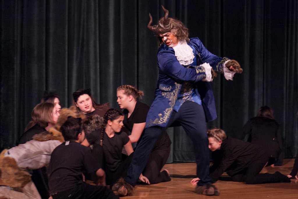 Tibby McDowell | The Sheridan Press<br /> Marcus Sharp, who plays the Beast, fights off the attacking wolves during the production of Beauty and the Beast at Tongue River High School Auditorium Tuesday, March 6, 2018.