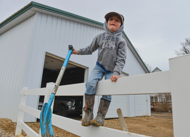 ustin Sheely | The Sheridan Press<br /> Six-year-old Tildyn Gorzalka helps his family at the Bow & Arrow Ranch west of Sheridan Thursday, March 15, 2018. March is a critical time of year for area ranchers as they work around the clock to ensure the survival and health of newborn calves.