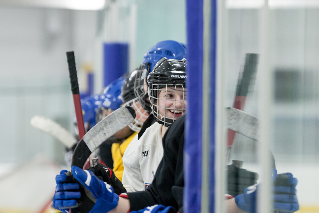 Tibby McDowell   The Sheridan Press<br /> Camdyn Cook lines up with her all male team waiting for the zamboni to clear the ice at Whitney Rink at the M&M's Center Tuesday Feb. 20, 2018.