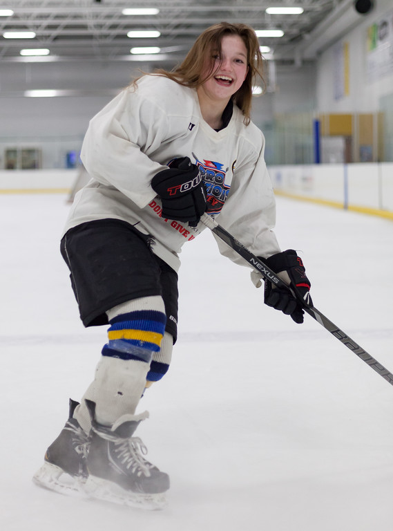Tibby McDowell | The Sheridan Press<br /> Camdyn Cook, the only female player for the Sheridan Hawks. Whitney Rink at the M&M's Center Tuesday Feb. 20, 2018.