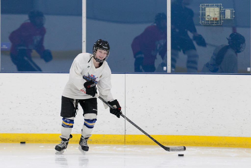 Tibby McDowell | The Sheridan Press<br /> Camdyn Cook passes the puck to a teammate during practice at Whitney Rink at the M&M's Center Tuesday Feb. 20, 2018.
