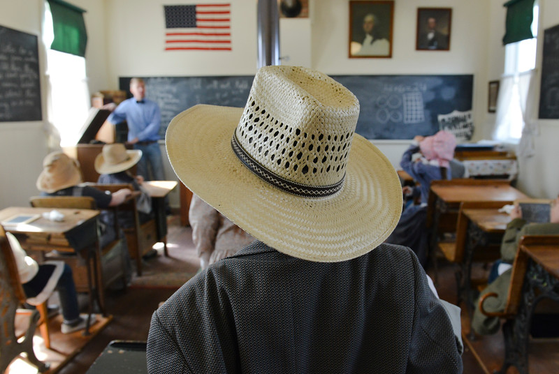 Justin Sheely | The Sheridan Press<br /> A student looks on as Jesse Hinkhouse teaches during a historic social studies class at the Owen School in Ranchester Tuesday, April 10, 2018. Tongue River and Big Horn elementary students experienced the teaching and disciplinary methods of the classroom of 100 years ago in the historic one-room schoolhouse.
