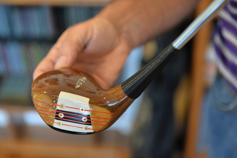 Justin Sheely | The Sheridan Press<br /> Jim Benepe shows the late '80s model Wood Brothers driver, made of persimmon wood, at his home in Sheridan Friday, June 29, 2018. Benepe used the wood driver to win the 1988 Beatrice Western Open Championship.