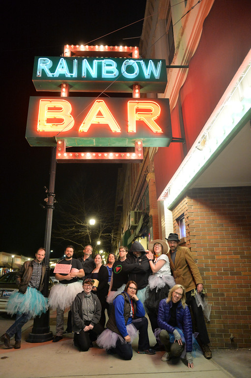 "Justin Sheely | The Sheridan Press<br /> Tutu-wearing activists visited various bars in downtown Sheridan during the ""Live and Let Tutu"" response Saturday night. Sheridan residents took part in a state-wide response to comments made by U.S. Sen. Mike Enzi, R-Wyoming, to middle school students in Greybull on April 20, when he was asked about federal protections for LGBT people. The senator reportedly said that he knows a guy who wears a tutu to bars and and always surprised that he gets in fights, ""he kind of asks for it a little bit."" Enzi said."