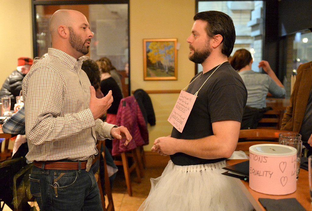 "Justin Sheely | The Sheridan Press<br /> Patron Scott Straessler questions tutu-wearing David Myers during the ""Live and Let Tutu"" response Saturday night at Frackelton's. Sheridan residents took part in a state-wide response to comments made by U.S. Sen. Mike Enzi, R-Wyoming, to middle school students in Greybull on April 20, when he was asked about federal protections for LGBT people. The senator reportedly said that he knows a guy who wears a tutu to bars and and always surprised that he gets in fights, ""he kind of asks for it a little bit."" Enzi said."