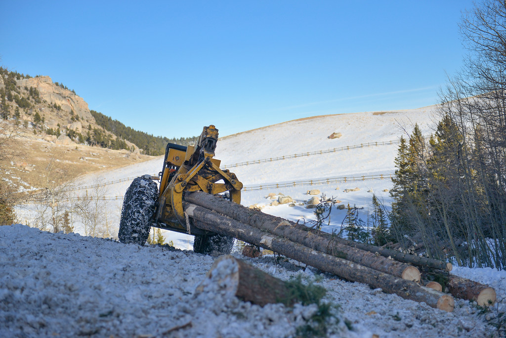 Justin Sheely | The Sheridan Press<br /> <br /> A grapple skidder pulls a pile of logs to the road at the sale site at the Wyoming State Land near Steamboat point in the Bighorn mountains Wednesday, Jan. 17, 2018.