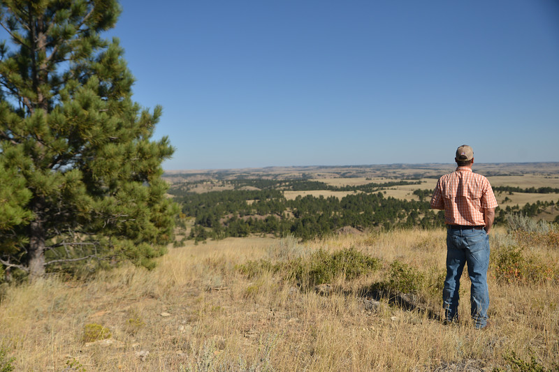 Ryan Patterson | The Sheridan Press<br /> Land broker Charlie Powers looks out at part of the OW Ranch near Decker, Montana, Monday, Sept. 17, 2018. The ranch, measuring about 50,000 acres, is on the market with an asking price of $25 million.