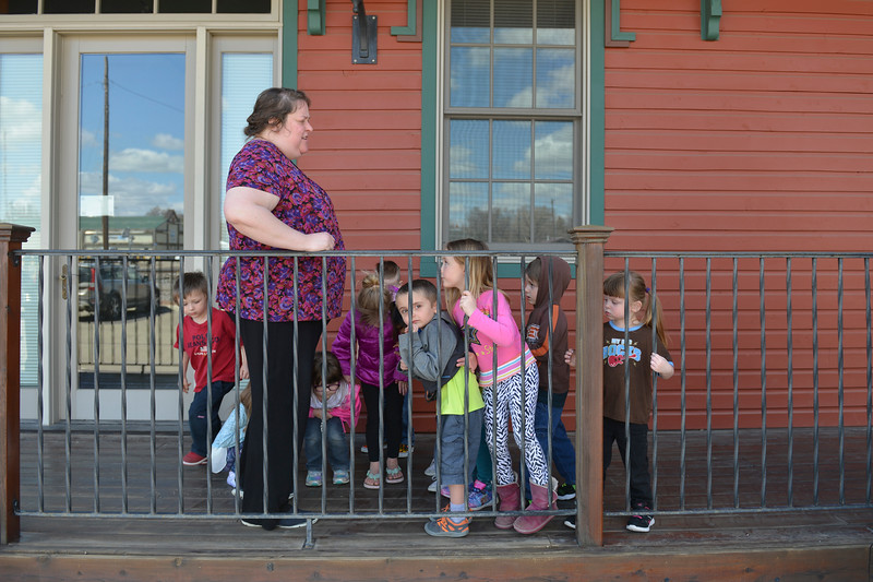 Justin Sheely | The Sheridan Press<br /> Teacher Tanya Buchanan lets the children play outside to burn some energy at Sheridan Absaroka Head Start at the Historic Train Depot Tuesday, April 24, 2018.
