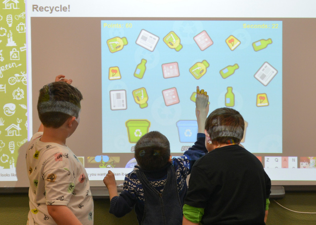 Justin Sheely | The Sheridan Press<br /> First-grade students play a recycling game during the Practicum in Education program at the Sheridan College Broadway Center Wednesday, April 4, 2018.