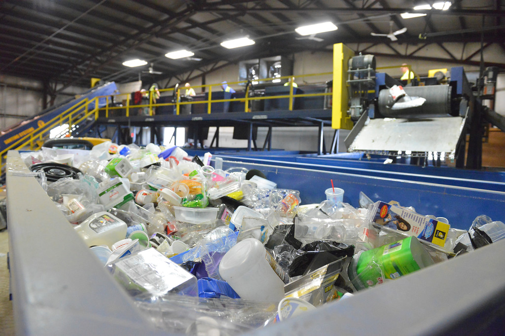 Justin Sheely | The Sheridan Press<br /> <br /> A bin filled with plastics is seen at the Sheridan Recycling Center Tuesday, Jan. 30, 2018. The city has seen a significant increase in recycled material along with a decrease in solid waste since they rolled out residential curbside recycling in 2015