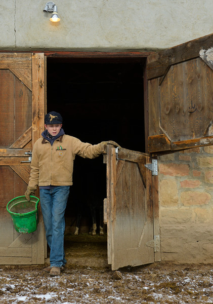 Justin Sheely   The Sheridan Press<br /> Arvada-Clearmont High School freshman Cameron Klatt feeds walks out of the barn to feed some calves at the Quarter-Circle 7 ranch near Arvada Friday, Dec. 22, 2017. The brothers live on a ranch in Campbell County, about 40-miles from their high school in Clearmont. Every day the brothers balance work on the ranch, school and playing on the Panthers basketball team.