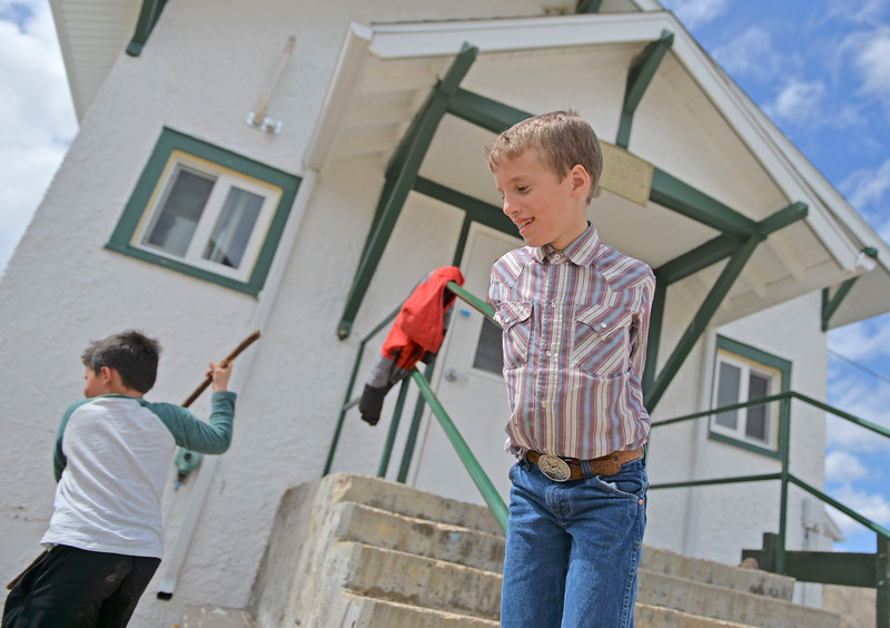 Justin Sheely | The Sheridan Press<br /> Third-grader James Hartfeld plays at Slack School near Parkman, Wyoming, Wednesday, April 18, 2018. Slack School is a one-room schoolhouse that began more than 100 years ago and serves students in kindergarten through fifth grade in Sheridan County School District 1.