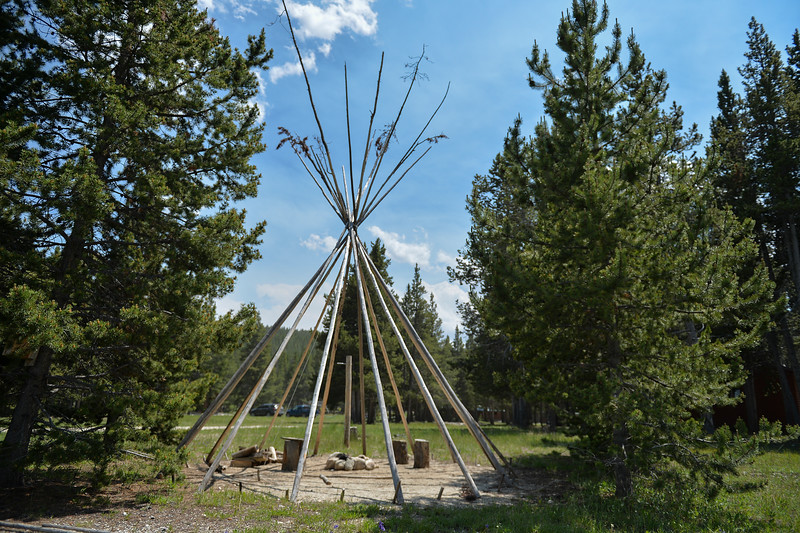 Justin Sheely | The Sheridan Press<br /> Teepee poles stand at Spear-O Wigwam in the Bighorn National Forest Thursday, June 28, 2018. The NWCCD board approved the potential sale on June 20 of Spear-O Wigwam, a 67,850-acre area in the Bighorn Mountains. The college leased the property since 2011 and used it for summer education programs and performances.