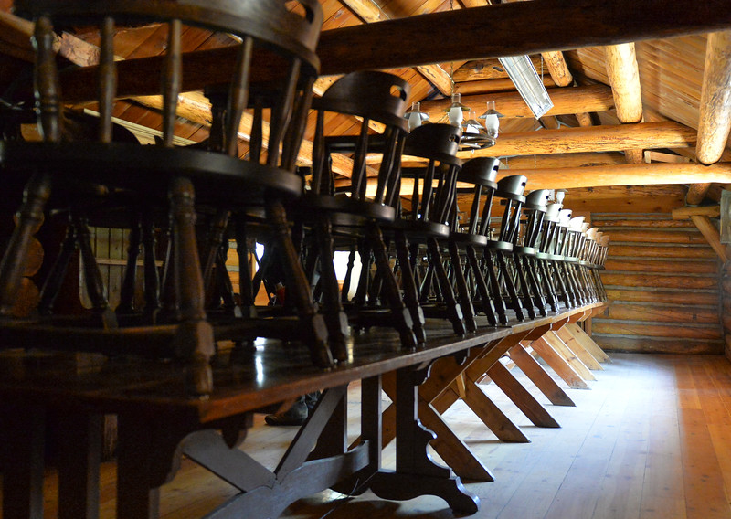 Justin Sheely | The Sheridan Press<br /> Chairs are stacked on the dining table in the lodge at Spear-O Wigwam in the Bighorn National Forest Thursday, June 28, 2018. The NWCCD board approved the potential sale on June 20 of Spear-O Wigwam, a 67,850-acre area in the Bighorn Mountains. The college leased the property since 2011 and used it for summer education programs and performances.