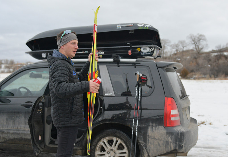 Justin Sheely | The Sheridan Press<br /> <br /> Antelope Butte Foundation executive director and ski coach John Kirlin gathers his gear during cross-country skiing practice at South Park Tuesday, Jan. 30, 2018. Magelky is the sole skier on the new Antelope Butte Foundation Nordic Club and set a goal to qualify for the Junior National Championships during her high school career.